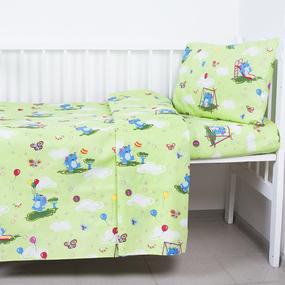 Пододеяльник бязь ГОСТ детский 315/3 Слоники с шариками цвет зеленый 145/110 см фото