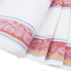Ткань на отрез полулен полотенечный 50 см Жаккард цвет красный фото
