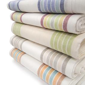 Ткань на отрез полулен полотенечный 50 см Полоска разные расцветки фото