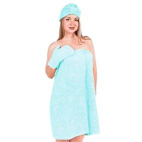 Набор для сауны женский цвет светло-бирюзовый фото