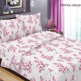 Ткань на отрез бязь 120 гр/м2 150 см 489-2 Ветка сакуры цвет розовый фото