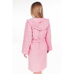 Халат женский махровый с капюшоном розовый р 44 фото