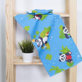 Набор вафельных полотенец 3 шт 35/75 см 375/1 Панда цвет голубой фото
