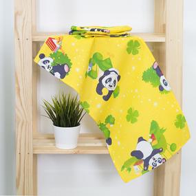 Набор вафельных полотенец 3 шт 35/75 см 375/3 Панда цвет желтый фото