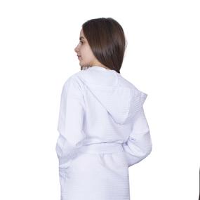 Халат женский вафельный с капюшоном 240 гр. ячейка 7х7 см белый р 56 фото