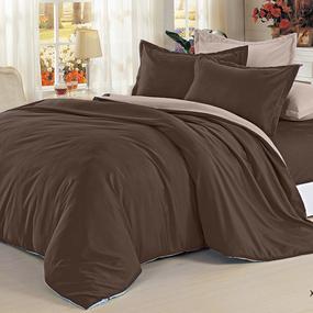 Полисатин гладкокрашеный 220 см цвет 18-1235 темный шоколад фото