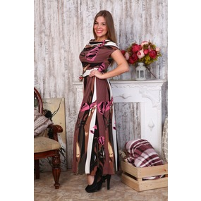Платье Лейла вискоза цветы на коричневом Д470 р 48 фото