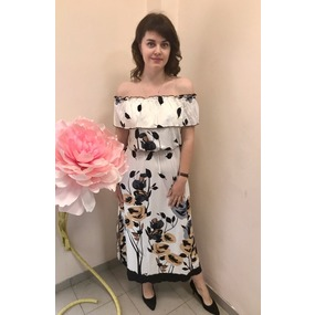 Платье Лейла вискоза цветы на белом Д470 р 46 фото