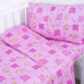 Постельное белье в детскую кроватку из бязи 366/3 Жирафики цвет розовый ГОСТ фото