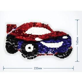 Аппликация Красно-синяя машина 23,5*14 см фото