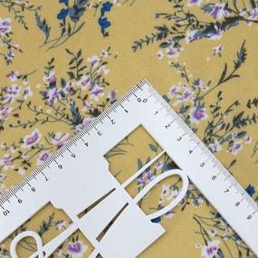 Ткань на отрез штапель К02 Цветы на желтом фото