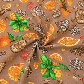 Ткань на отрез рогожка 150 см 12214/2 Цитрус цвет бежевый фото