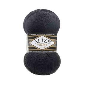 Пряжа ALIZE SUPERLANA KLASIK 60-черный (25% шерсть 75% акрил) фото