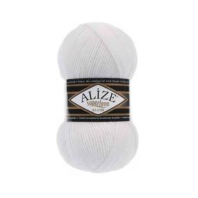 Пряжа ALIZE SUPERLANA KLASIK 55-белый (25% шерсть 75% акрил) фото
