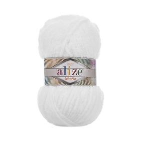 Пряжа ALIZE SOFTY PLUS 55-белый (100% микрополиэстер) фото