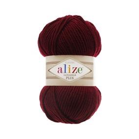 Пряжа ALIZE LANAGOLD PLUS 57-бордовый (49% шерсть 51% акрил) фото