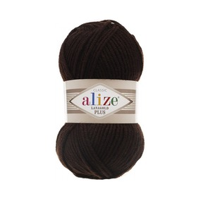Пряжа ALIZE LANAGOLD PLUS 26-коричневый (49% шерсть 51% акрил) фото