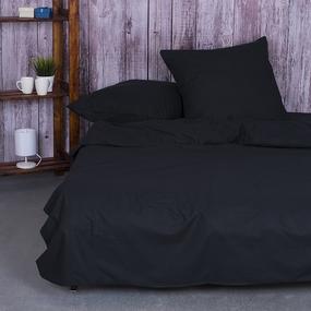 Постельное белье из поплина Черный 2-х сп с евро простыней. фото