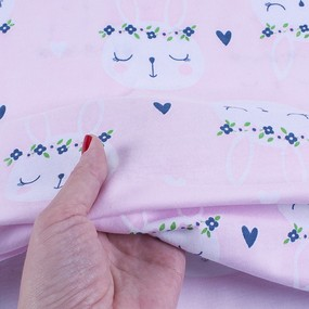 Ткань на отрез кулирка карде Зайцы на розовом 3247-V1 фото