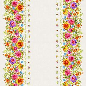 Рогожка 150 см набивная арт 902 Тейково рис 30140 вид 1 Петриковская роспись фото