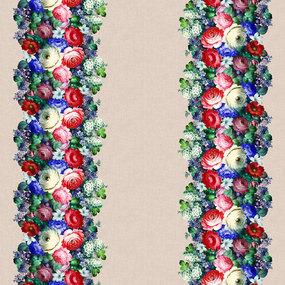 Рогожка 150 см набивная арт 904 Тейково рис 30066 вид 1 Жостовская роспись фото