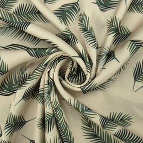 Ткань на отрез шелк 150 см D1907 Листья пальмы на молочном фото