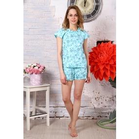 Пижама Лада шорты цветы на голубом Б2 р 48 фото