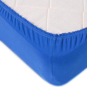 Простыня трикотажная на резинке Премиум М-2067 цвет голубой 90/200/20 см фото