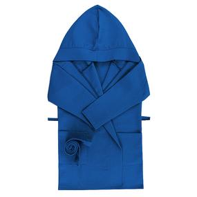 Халат детский вафельный с капюшоном синий 110-116 см фото