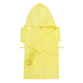 Халат детский вафельный с капюшоном желтый 110-116 см фото