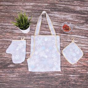 Кухонный набор из рогожки - фартук/прихватка/рукавичка 11808/1 Льдинка фото