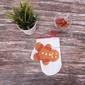 Кухонный набор из рогожки - фартук/прихватка/рукавичка 11151/1 Пряничный домик фото