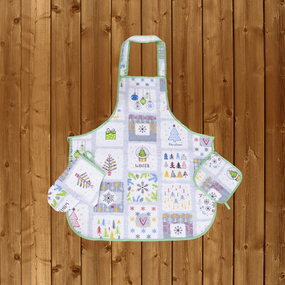 Кухонный набор из рогожки - фартук/прихватка/рукавичка 11795/1 Хюгге фото