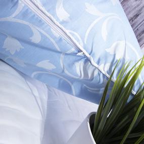 Наперник Тик кант молния Вензель цвет голубой 50/70 фото