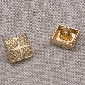 Пуговица металл ПМ63 10мм золото квадрат уп 12 шт фото