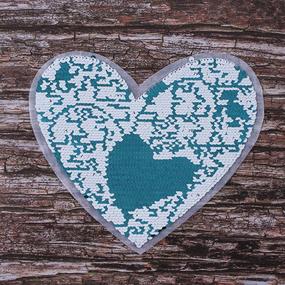 Термоаппликация ТАП 025 трансформер сердце голубой-белый 21*18см фото