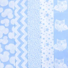 Набор отрезов ткани 50/50 +/- 5 см 5 шт 100 цвет голубой фото