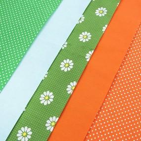 Набор отрезов ткани 50/50 +/- 5 см 5 шт 104 цвет зелено-оранжевый фото