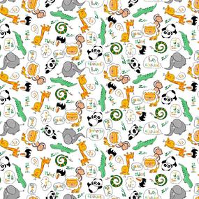 Ткань на отрез ситец 95 см 21317/1 Жирафики цвет белый фото