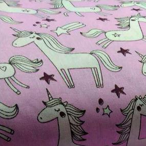 Бязь плательная 150 см 476/2 Единороги на розовом фото