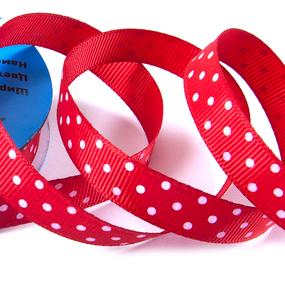 Лента репсовая горох ширина 12 мм (27,4 м) цвет 250029 красный-белый фото