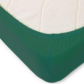 Простыня трикотажная на резинке Премиум цвет темно-зеленый 120/200/20 см фото