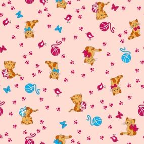 Ткань на отрез фланель 75 см 5318/3 Пушистые котята цвет розовый фото