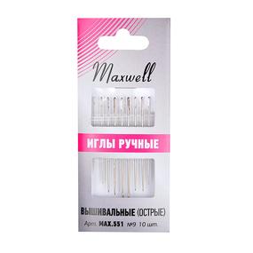 Иглы Maxwell арт.MAX.551 вышивальные для синели и квилтинга (острые) №9 уп.10 игл фото