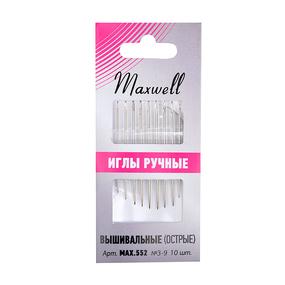 Иглы Maxwell арт.MAX.552 вышивальные для синели и квилтинга (острые) №3-9 уп.10 игл фото