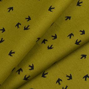Ткань на отрез перкаль 150 см 306/1 Птички цвет хаки фото