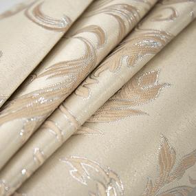 Маломеры Портьерная ткань с люрексом 150 см Х7187 цвет 15 светло-бежевый вензель 1,7 м фото