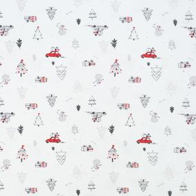 Ткань на отрез интерлок Снеговики 3039-21 фото
