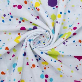 Ткань на отрез кулирка R8114-V2 Клякса на белом фото