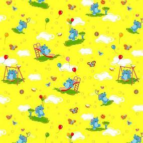Ткань на отрез бязь ГОСТ детская 150 см 315/5 Слоники желтый фото